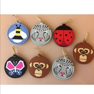 Lot of 7 Leather Bag Charms, Keychains NEW Animals